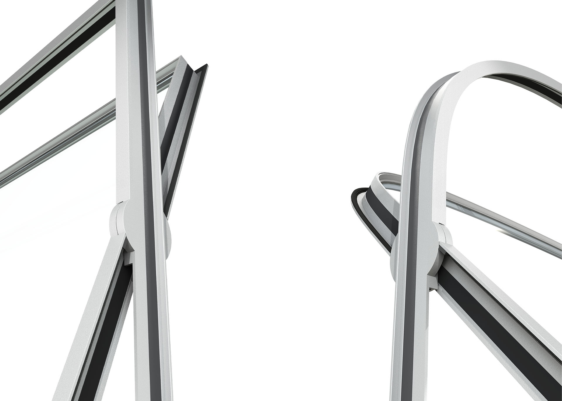 3d rendering detail of MHB steel pivot door curves and angles
