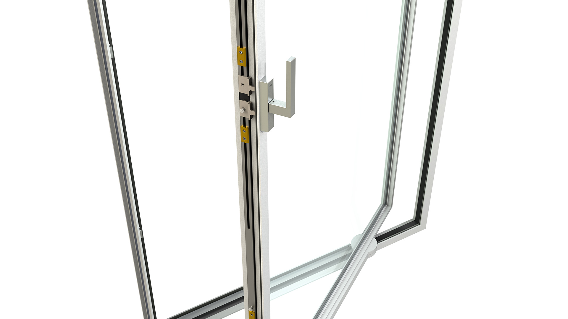 3d rendering detail of MHB steel pivot door