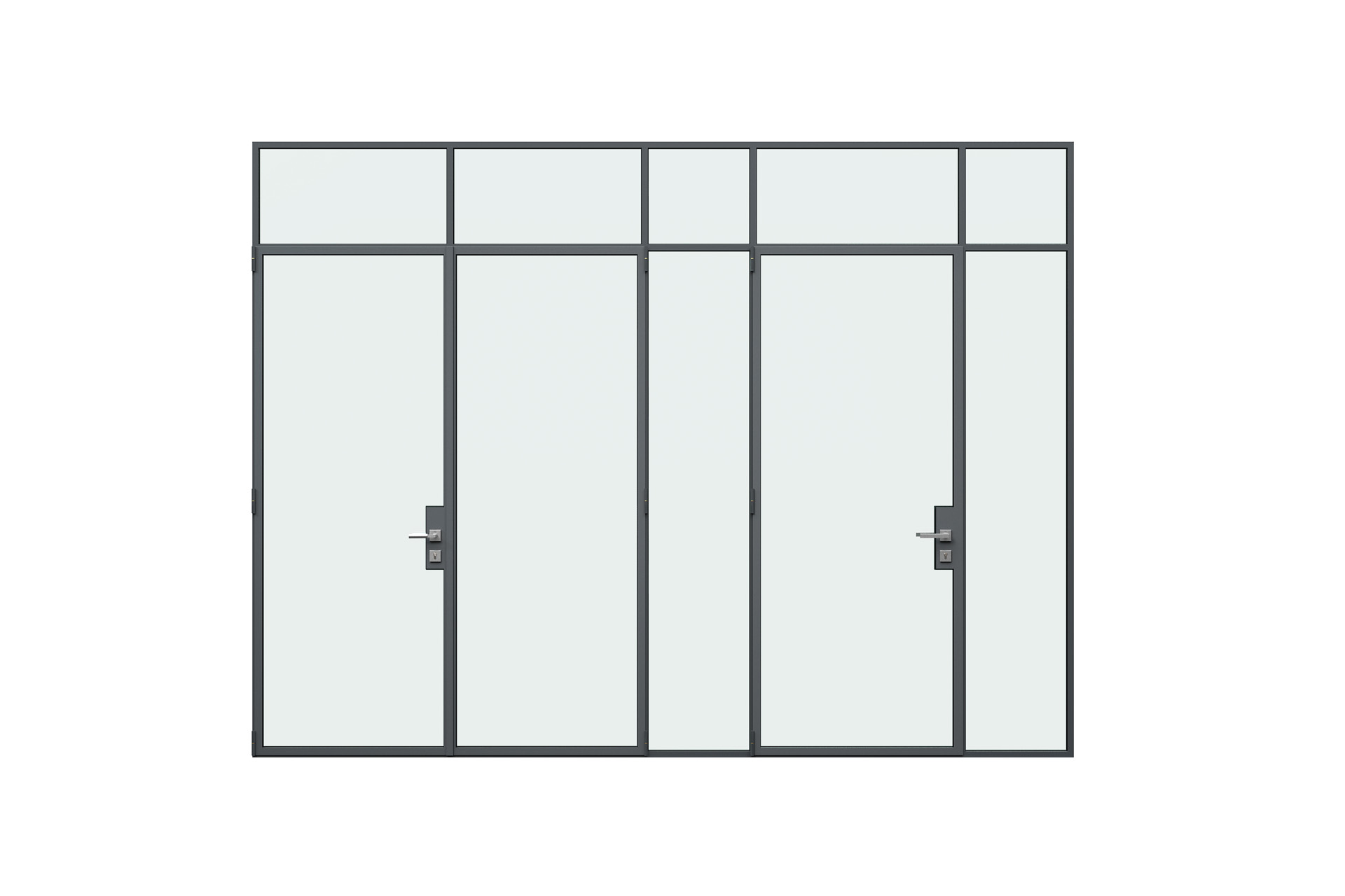 3d rendering front view of MHB steel Floating lock case doors