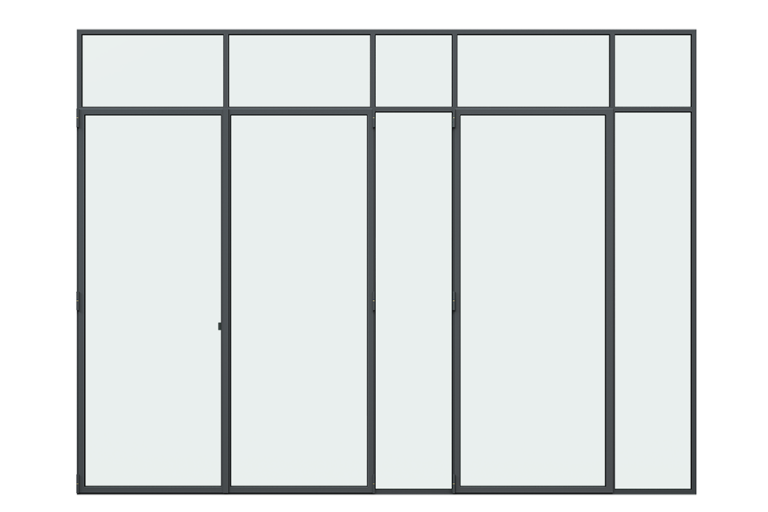 3d rendering front view of MHB steel french doors
