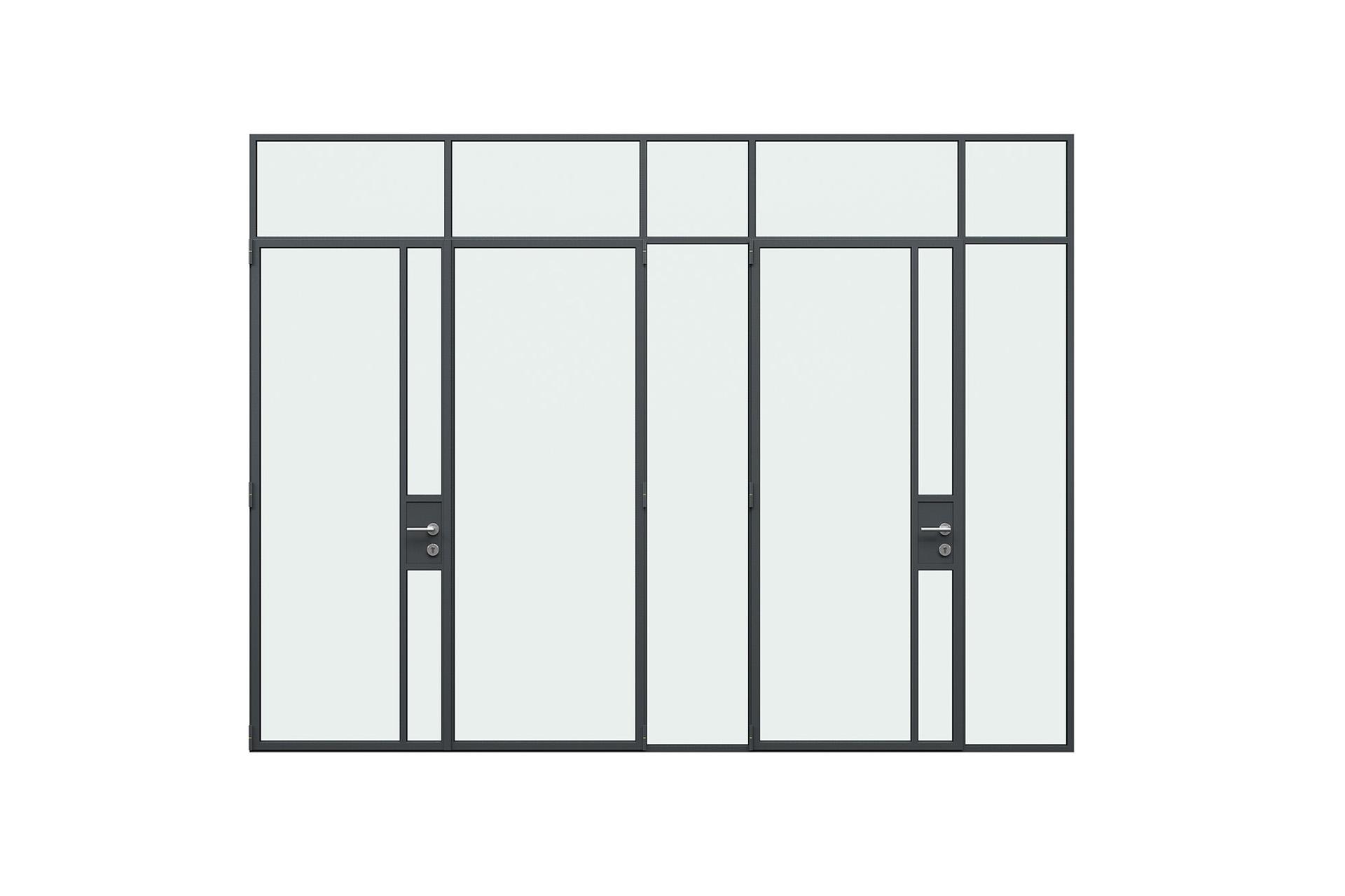 3d rendering front view of MHB steel lock case doors