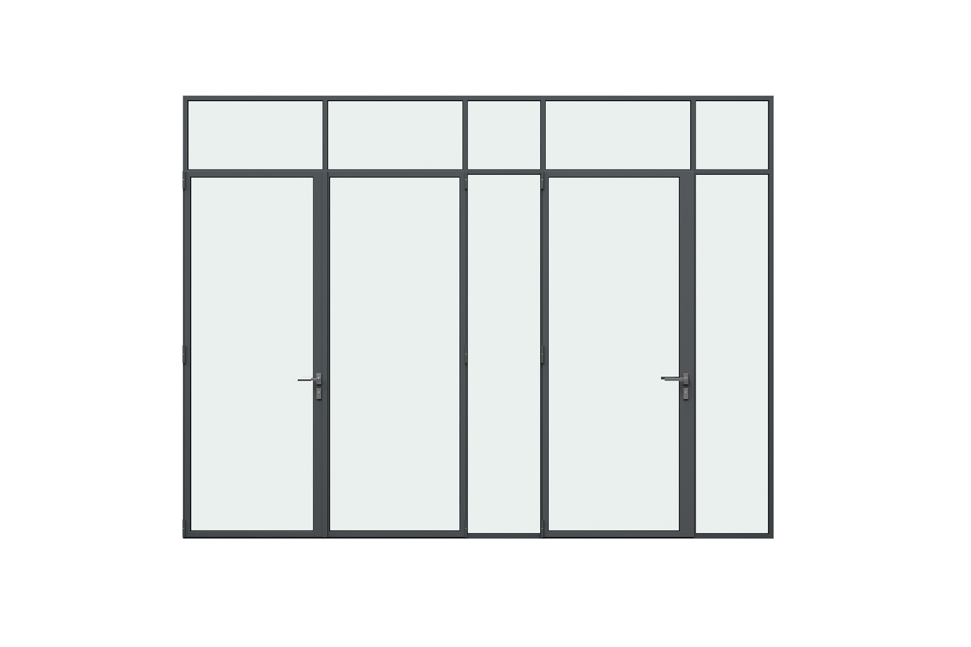 3d rendering front view of MHB steel lock mullion doors