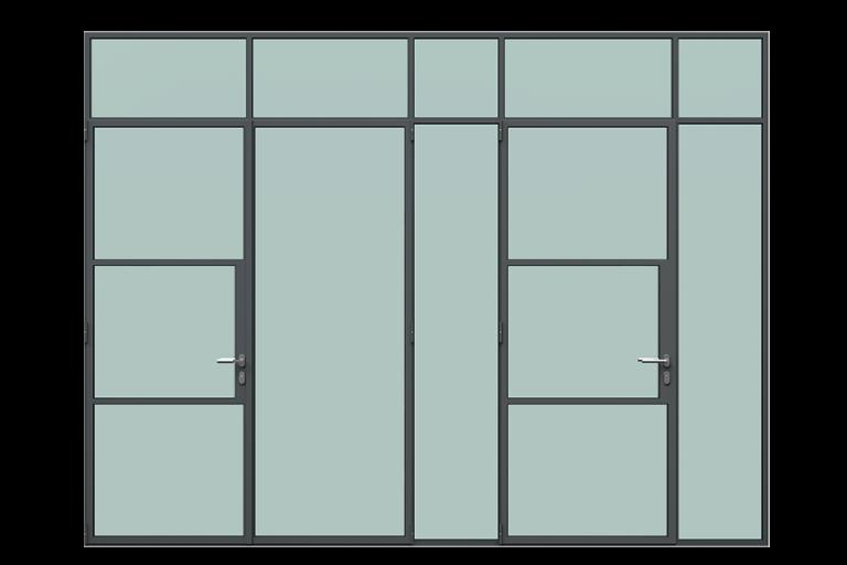 3d rendering front view of MHB steel partial lock mullion doors