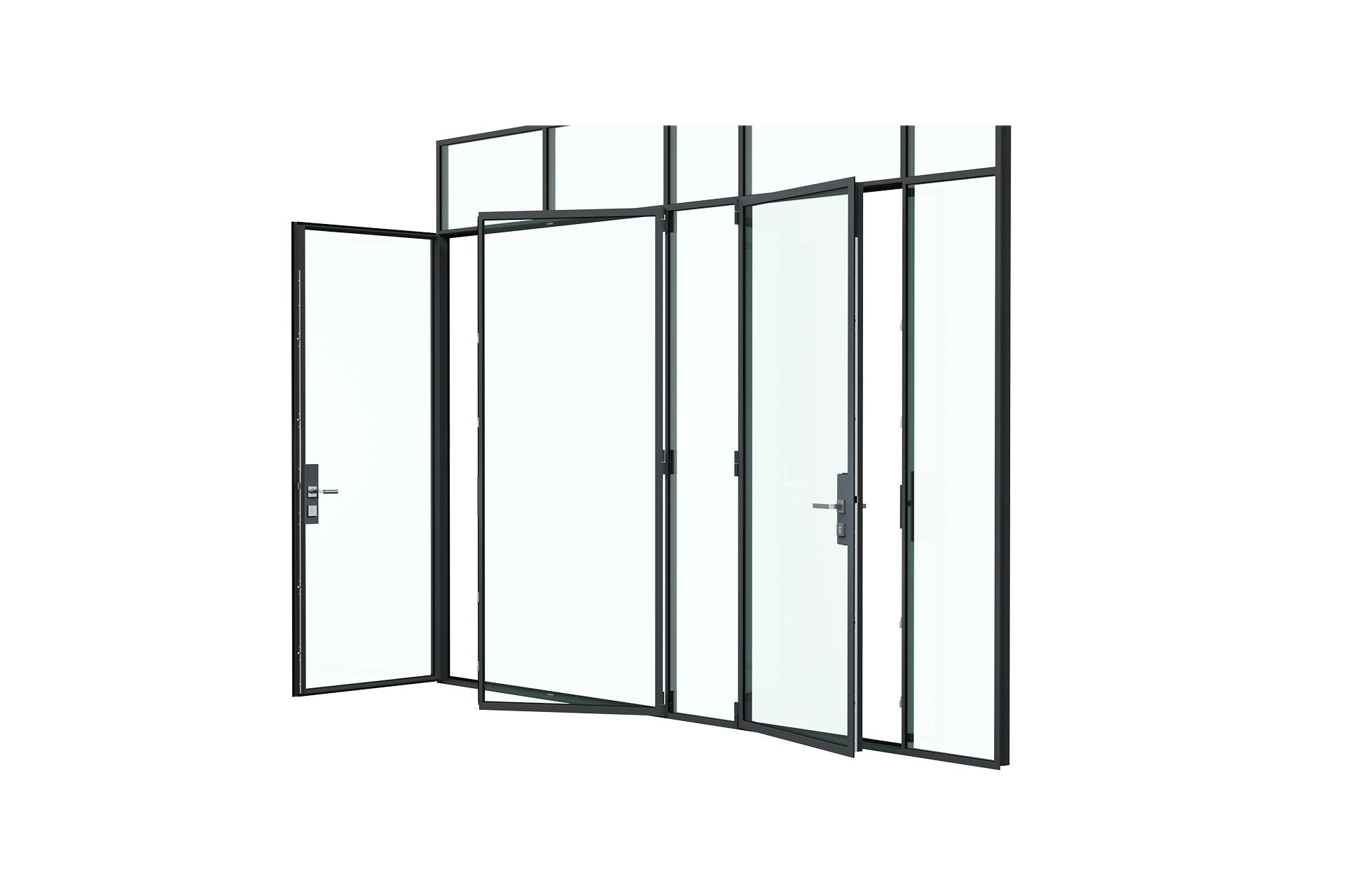 3d rendering side view of MHB steel Floating lock case doors