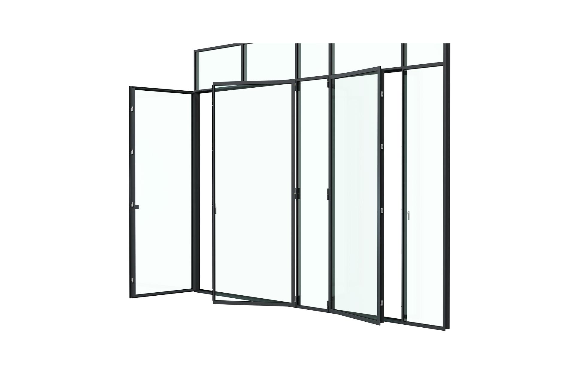 3d rendering side view of MHB steel French doors