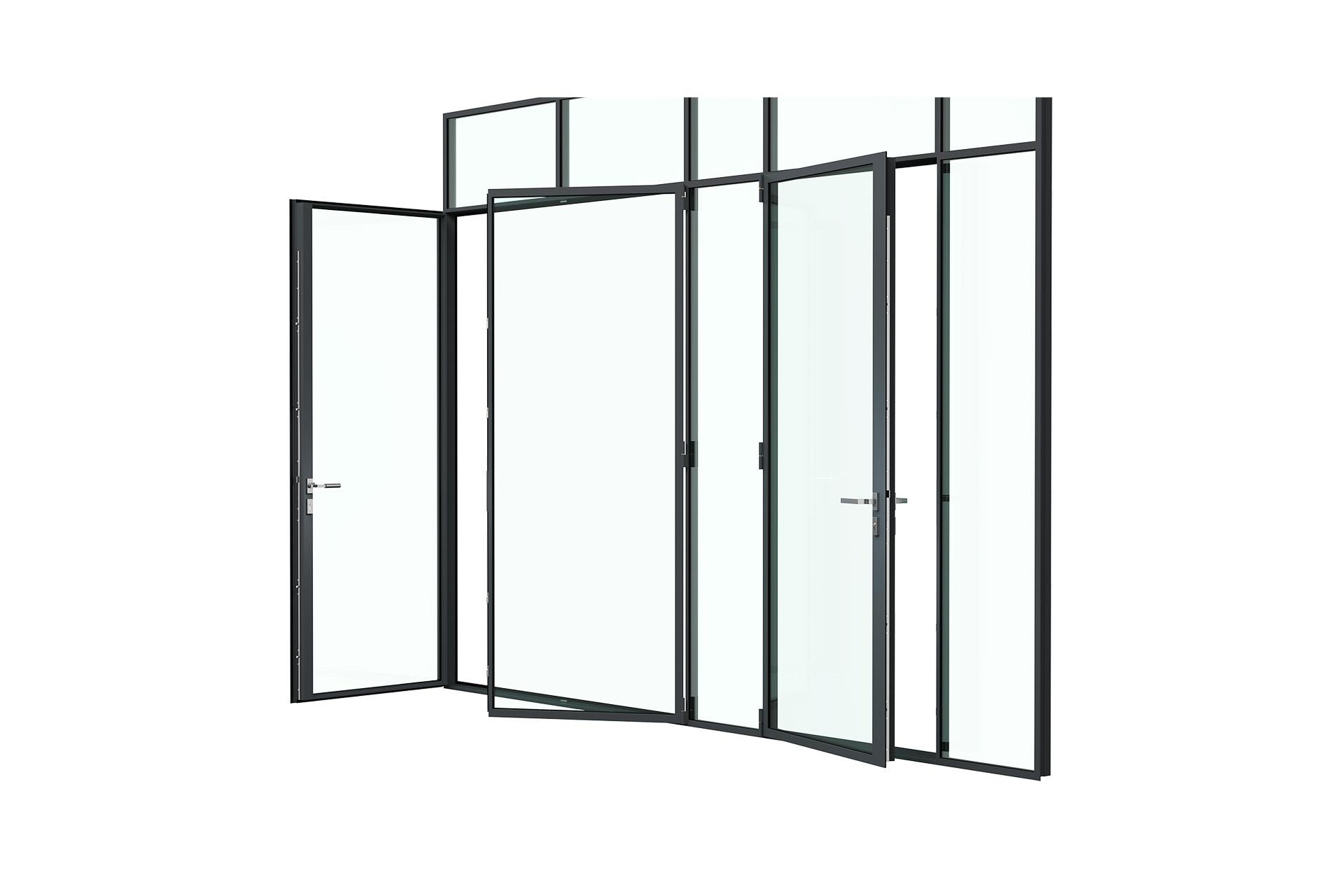 3d rendering side view of MHB steel lock mullion doors