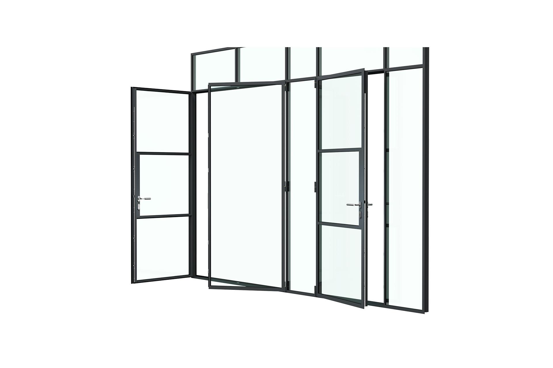 3d rendering side view of MHB steel partial lock mullion doors