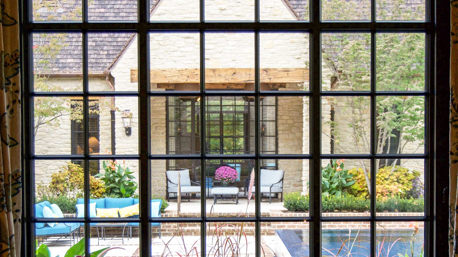 A house with glazed steel windows and doors