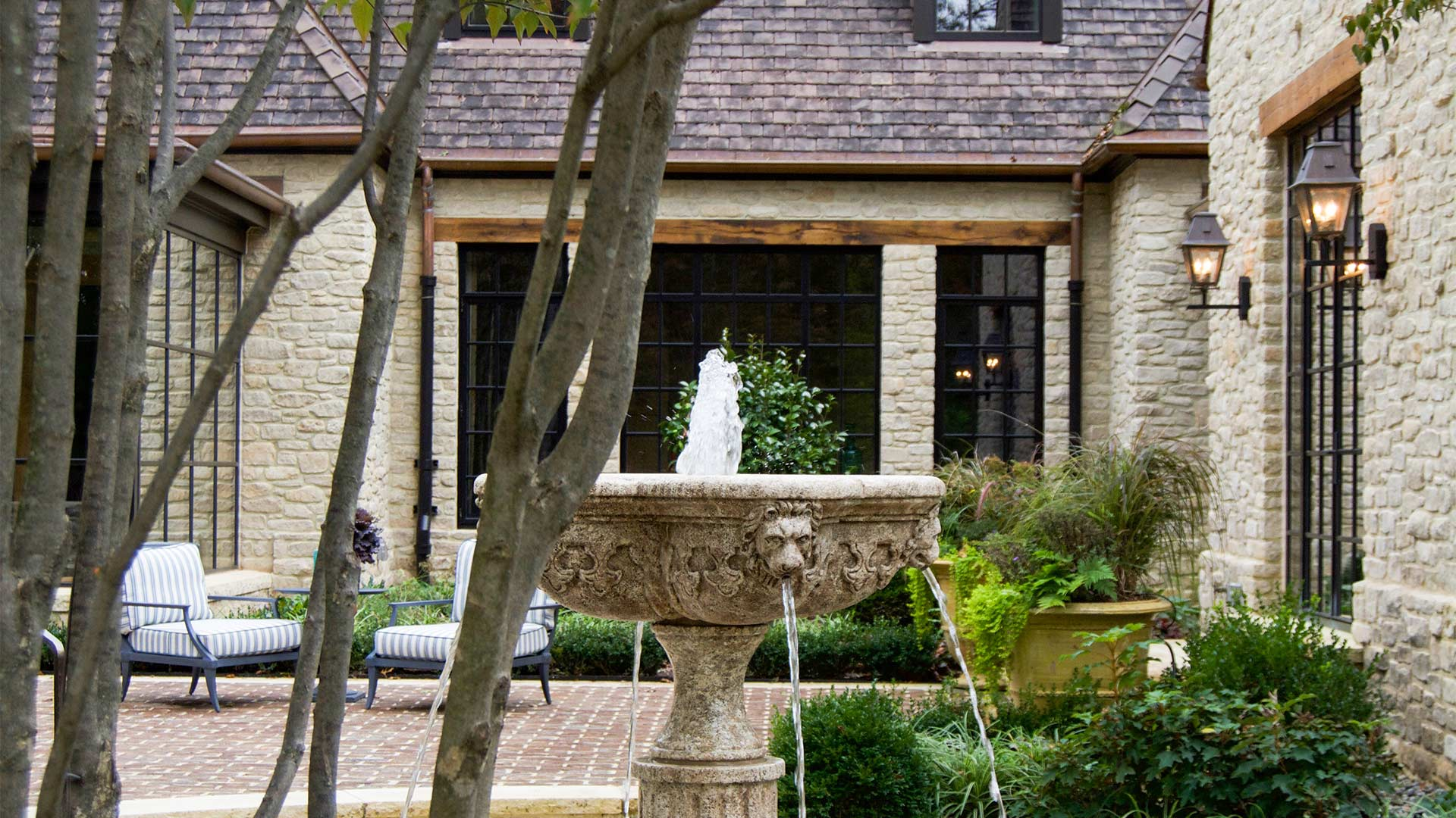 A house with a fountain