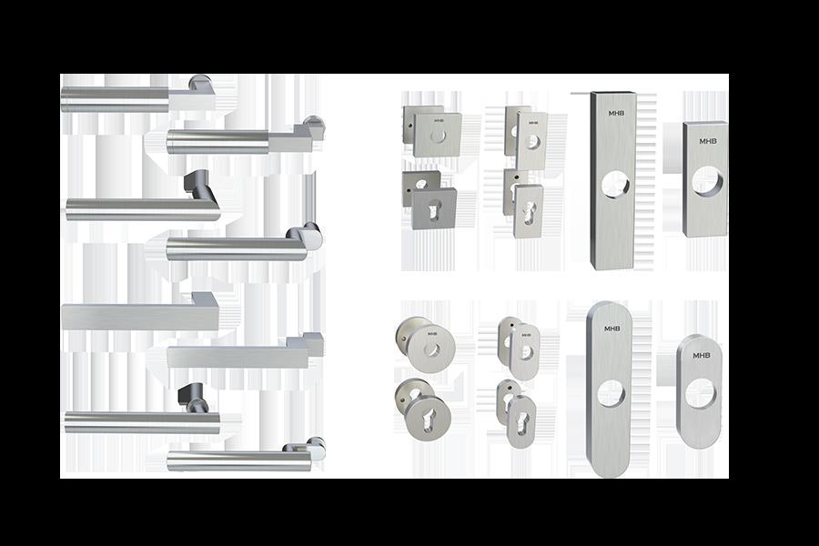 MHB steel handles and escutcheons