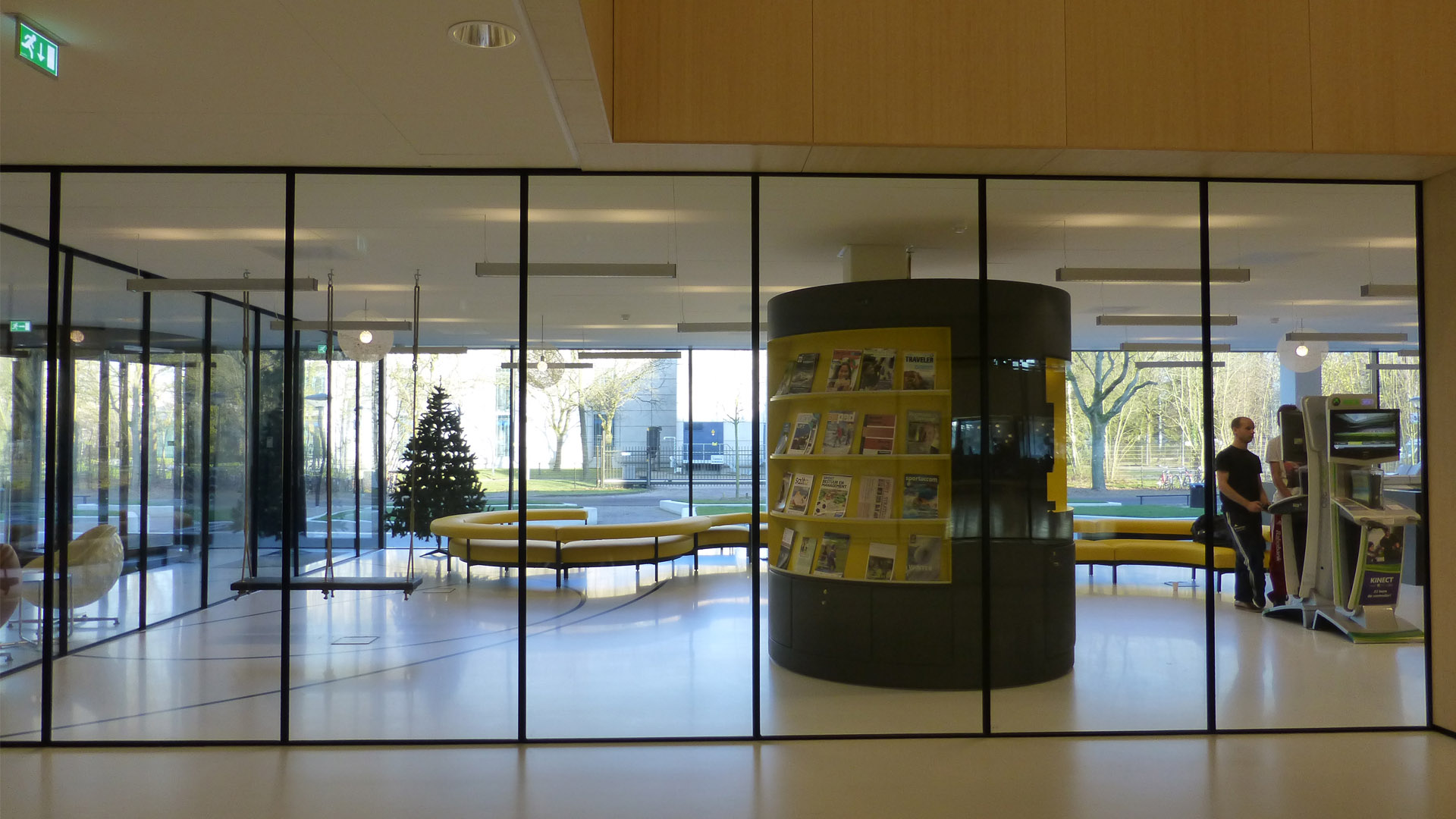 Steel glazed indoor doors in the Fontys Sport high school, Eindhoven, The Netherlands