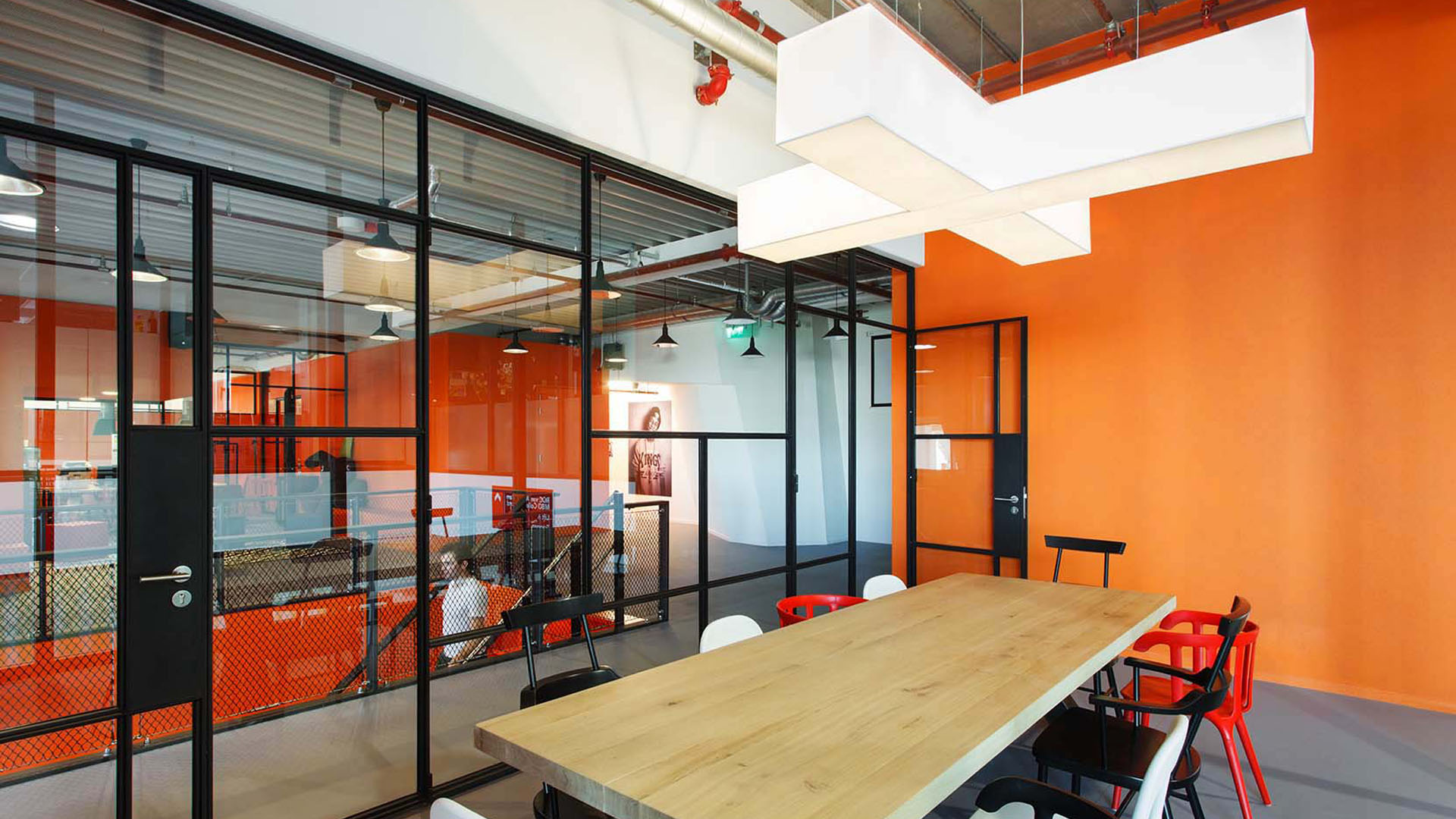 A stylish glass door in the office