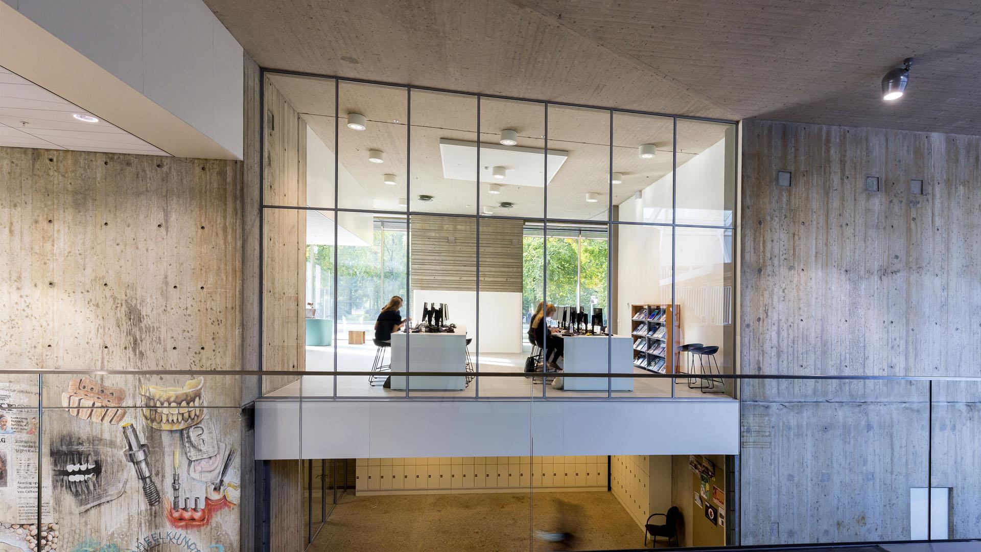 Interior glass walls at the Radboud University of dentist in Nijmegen, the Netherlands