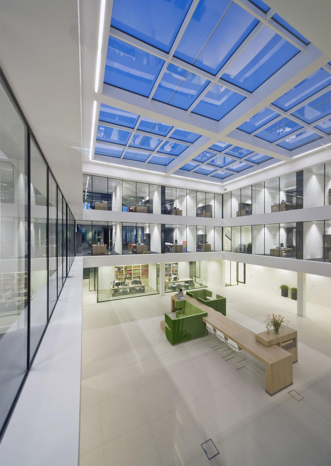 Steel glazed indoor walls at WVDB office building, Waalre the Netherlands
