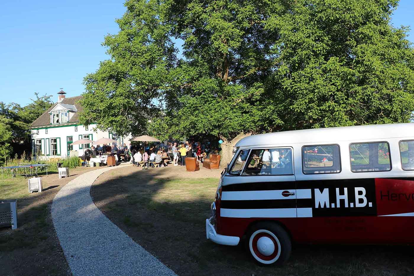 A summer bbq festival for MHB employees with the MHB van